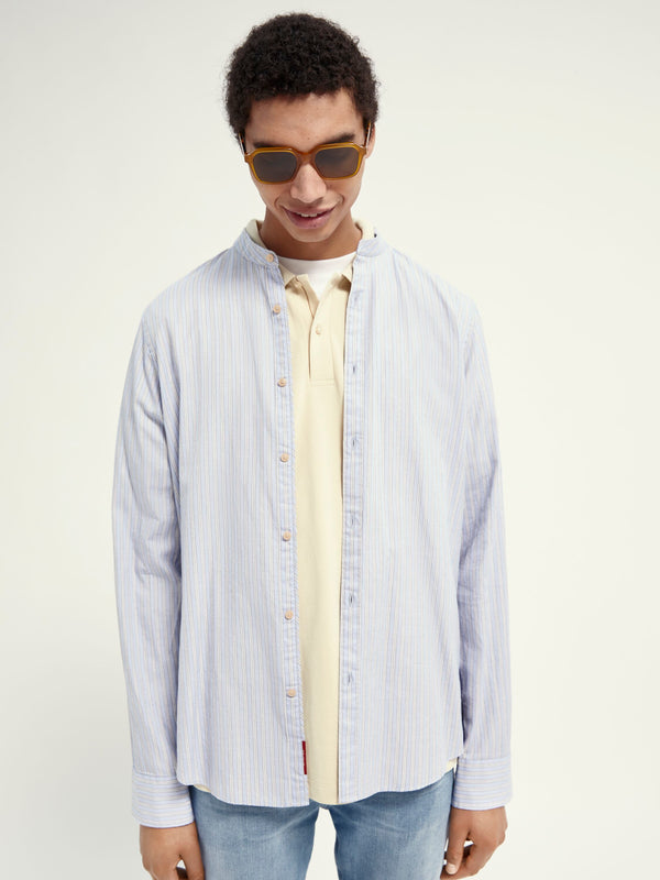 RELAXED FIT- Collarless shirt in organic cotton (0219)
