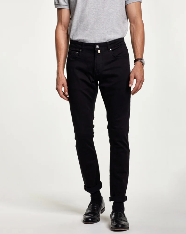 Steve Satin Jeans Zip (99 Black)
