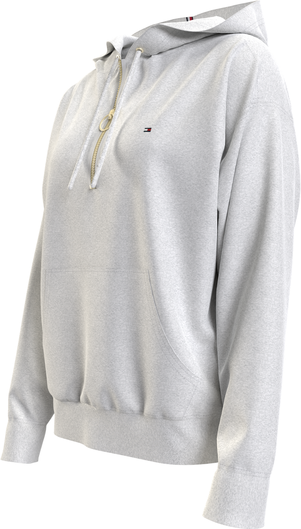 RELAXED HALF ZIP HOO, (PKH Light Grey Heather)