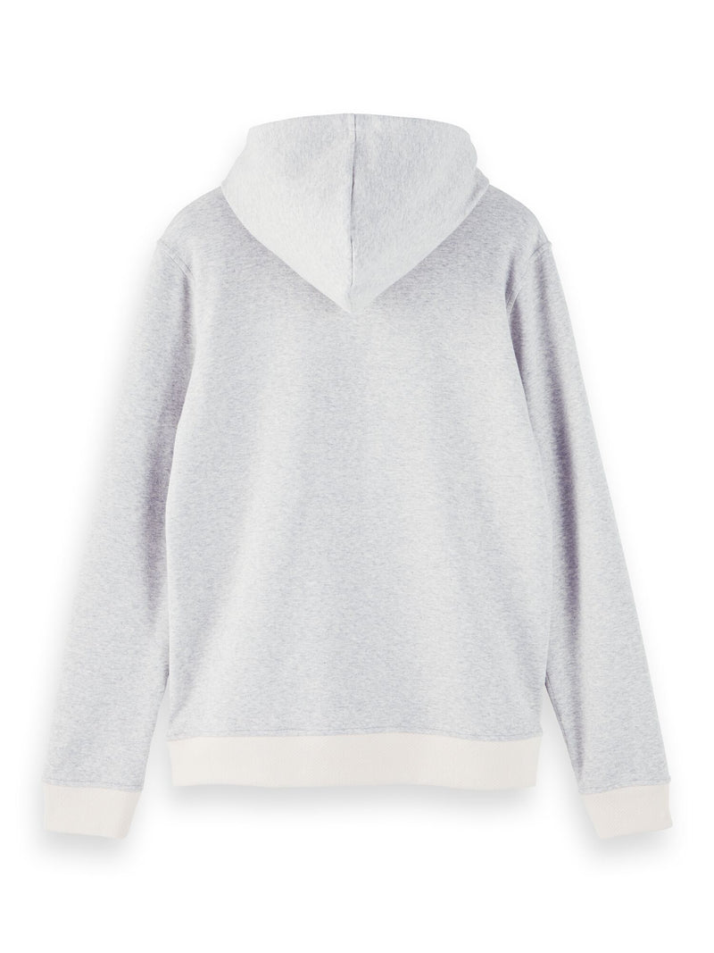 Reversible hooded sweat with chest print (Grey Melange) - D.O Design Only