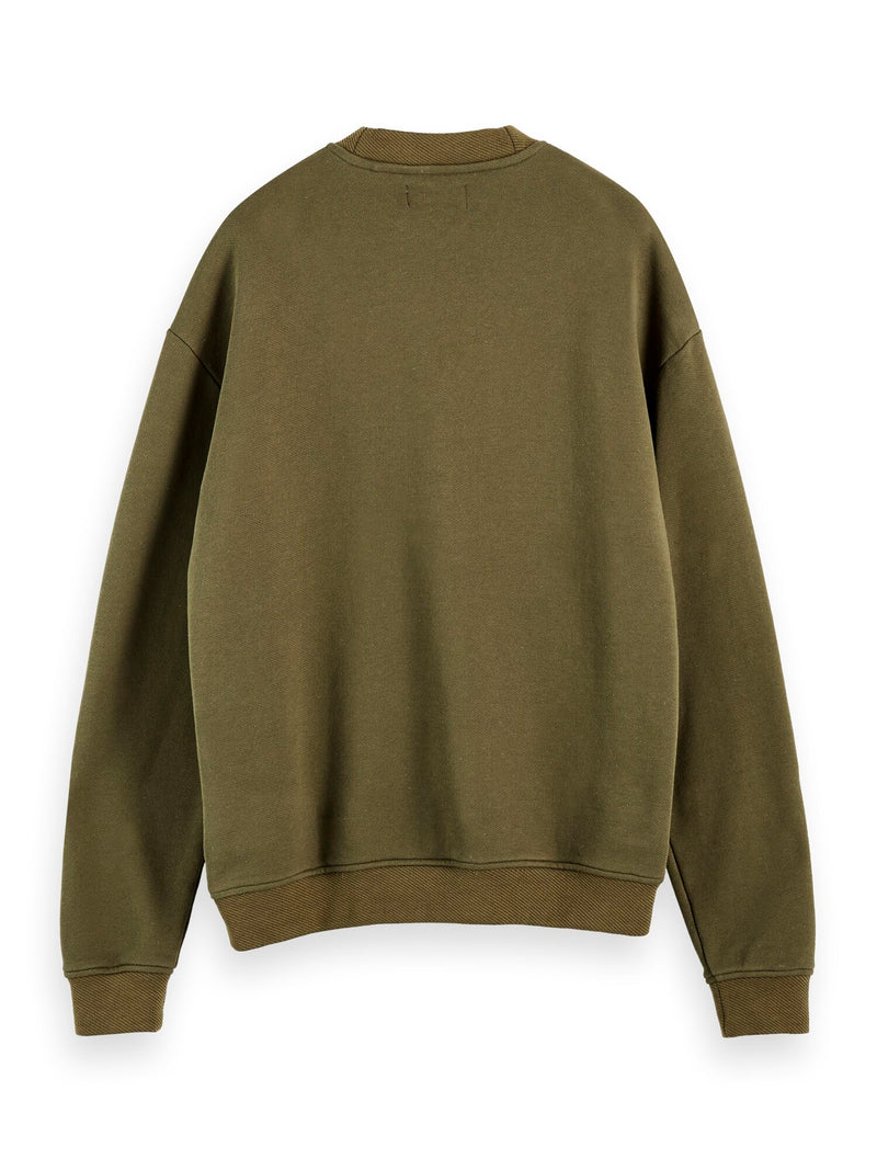 High neck recycled cotton blend sweat in boxy fit (Military Green) - D.O Design Only