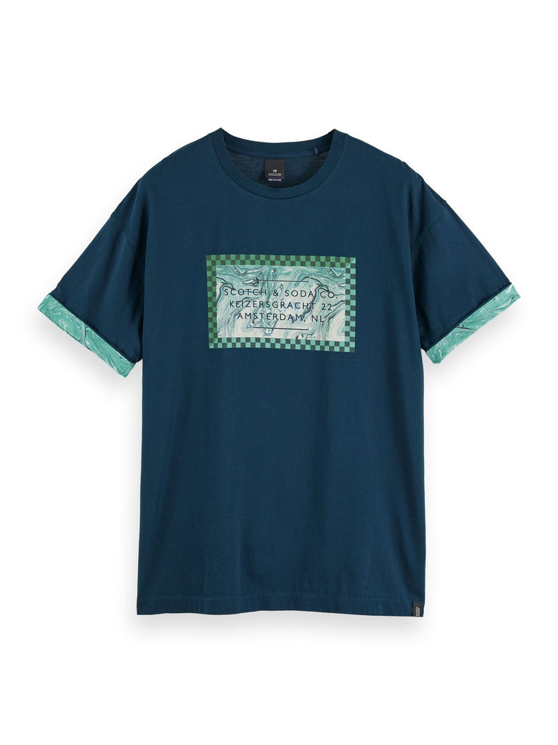 Chic artwork tee with contrast sleeve roll-up (Artic Teal) - D.O Design Only