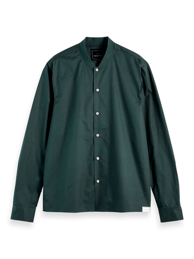 Long sleeve shirt with bomber collar (Lagoon Green) - D.O Design Only