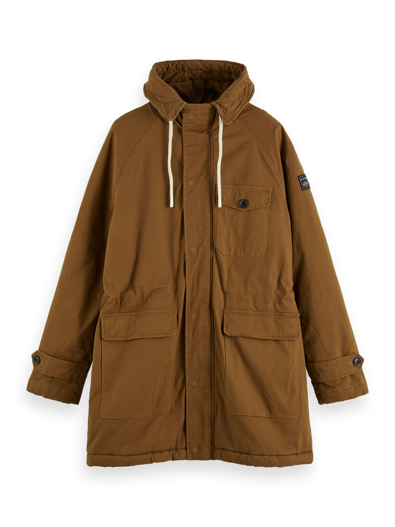 Classic padded organic cotton parka jacket (Fawn) - D.O Design Only