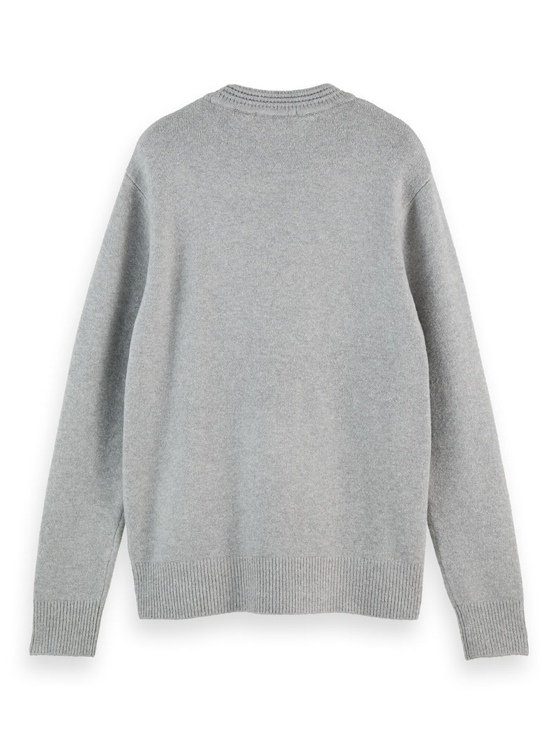 Soft knit crewneck pull with higher rib collar (Stone Melange) - D.O Design Only