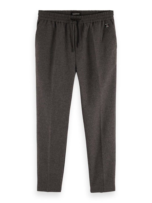 FAVE - Bonded wool-blend pant with elasticated waistband (Graphite Melange) - D.O Design Only