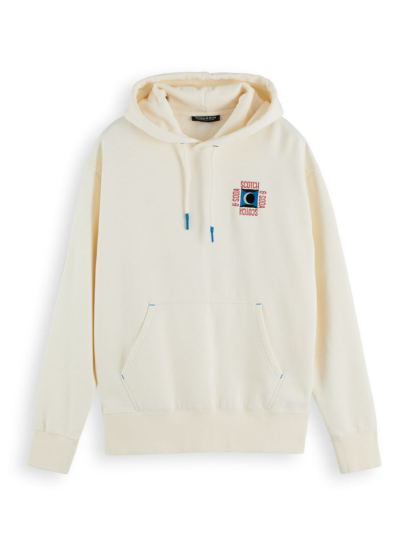 Clean felpa hoodie with pop chest embroidery (Denim White) - D.O Design Only