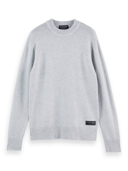 Soft knit crewneck pull with higher rib collar (Stone Melange)