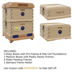Ergo Plus Tan November Bundle with 1 Deep and 1 Medium Super (November1) - Apimaye