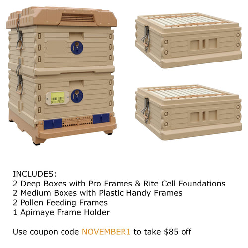 Ergo Plus Tan November Bundle with Two Medium Supers (November1) - Apimaye