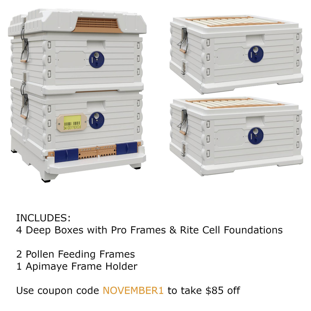 Ergo Plus White November Bundle with Two Deep Supers (November1) - Apimaye