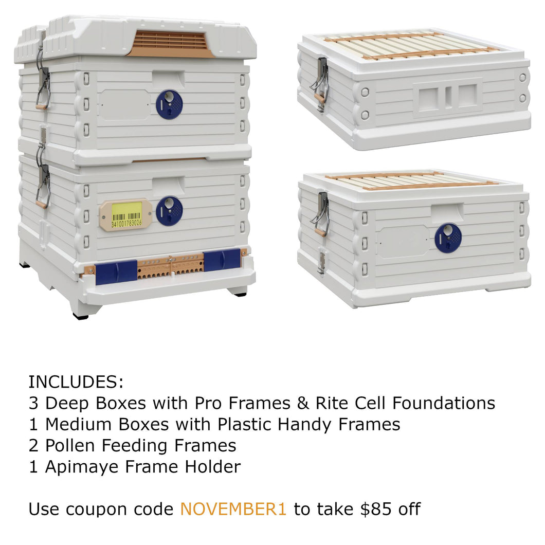 Ergo Plus White November Bundle with 1 Deep and 1 Medium Super (November1) - Apimaye