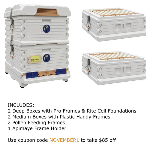 Ergo Plus White November Bundle with Two Medium Supers (November1) - Apimaye