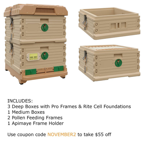 Ergo Plus Tan November Bundle with 1 Deep and 1 Medium Super (November2) - Apimaye