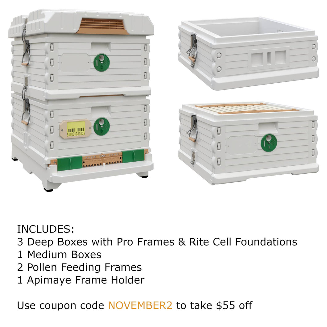 Ergo Plus White November Bundle with 1 Deep and 1 Medium Super (November2) - Apimaye