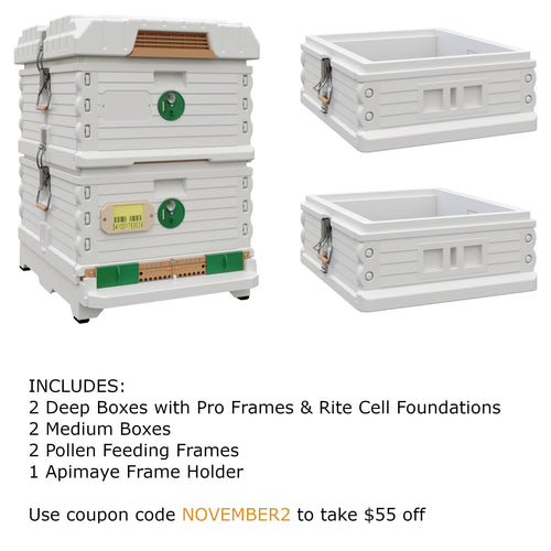 Ergo Plus White November Bundle with Two Medium Supers (November2) - Apimaye