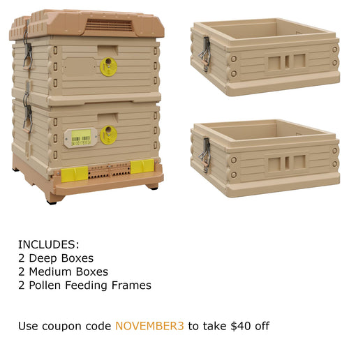 Ergo Plus Tan November Bundle with Two Medium Supers (November3) - Apimaye