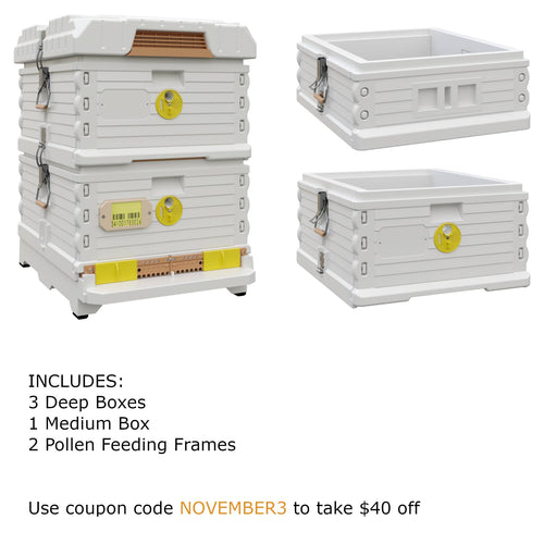 Ergo Plus White November Bundle with 1 Deep and 1 Medium Super (November3) - Apimaye