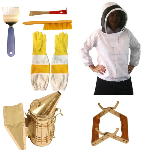 Beekeeping Supplies Tool Bundle with Premium Hooded Bee Jacket - Apimaye