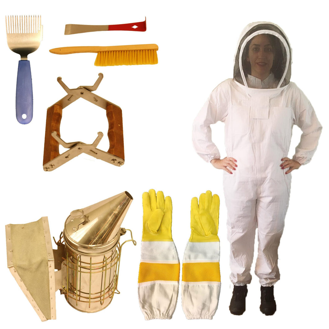 Beekeeping Supplies Bundle with Premium Hooded Bee Suit - Apimaye