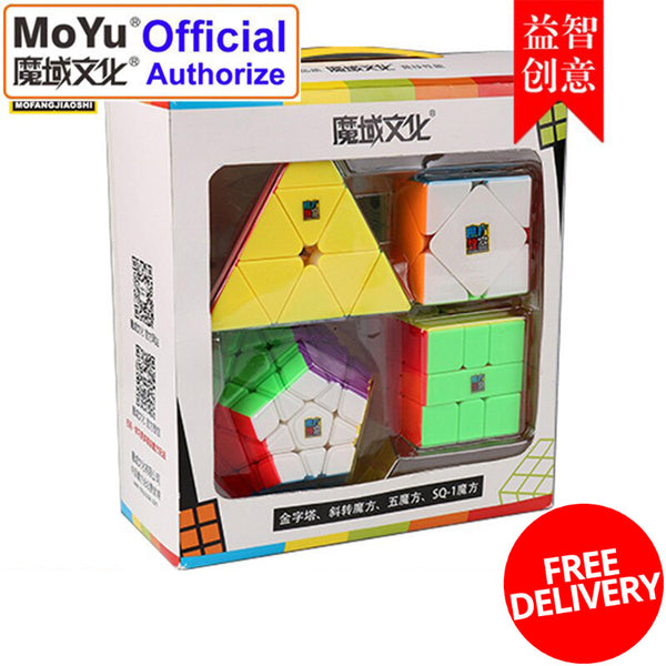 MoYu 4in1 Shape WCA Bundle Megaminx Pyraminx Skewb SQ-1 Square 1