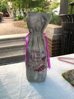 Embroidered Wine Bag