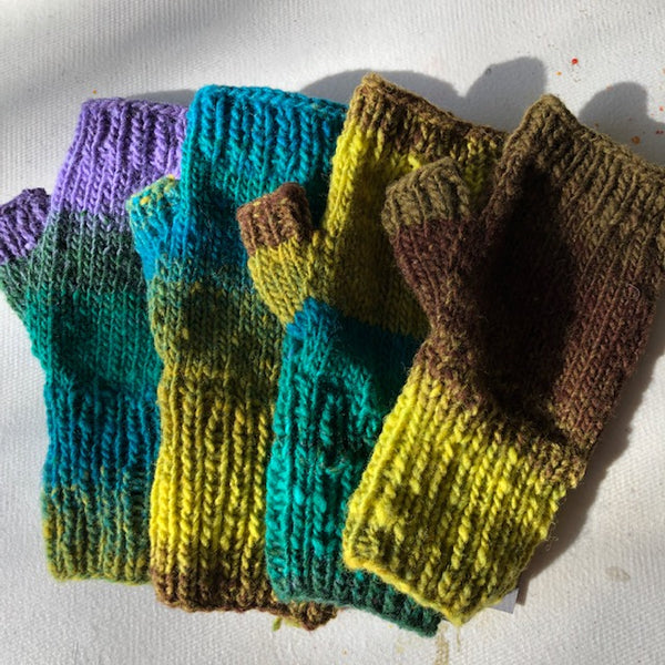 Fingerless Mitten Kit - Browns, Purples, Greens, Yellow