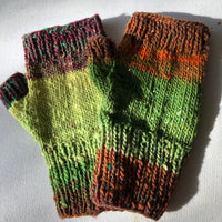 Fingerless Mitten Kit - Greens, Red Browns, Orange