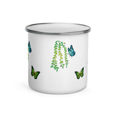 Plants Custom Enamel Mug - Butterflyed