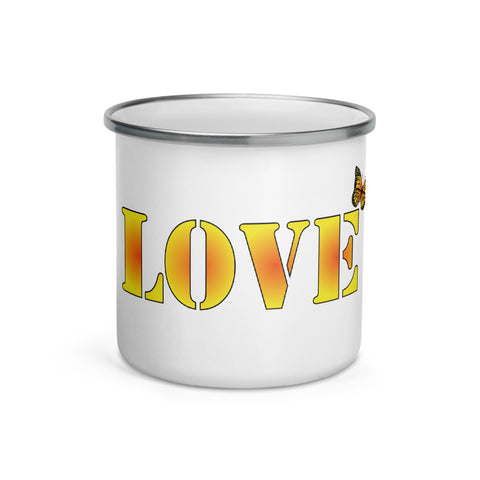 Love Custom Enamel Mug - Butterflyed