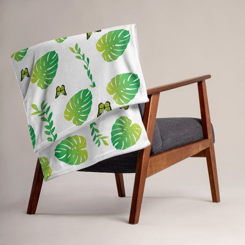 Monstera Throw Blanket - Butterflyed