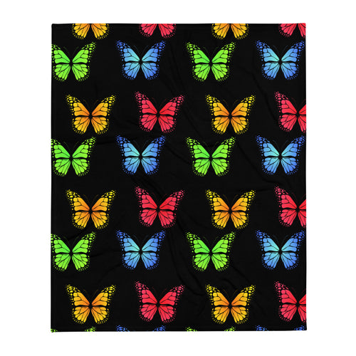 Butterflyed Classic - Multi Throw Blanket - Black - Butterflyed