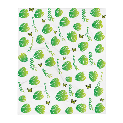 Butterflyed Art - Monstera Throw Blanket - Butterflyed