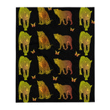 Leopard Custom Throw Blanket - Black - Butterflyed