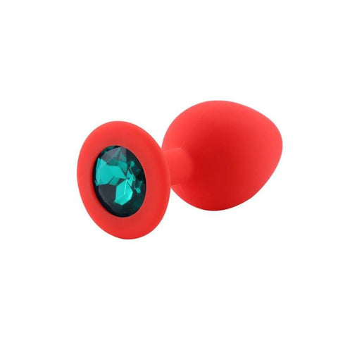 Plug Anal Silicone Rouge Diamant Turquoise | PlugezVous