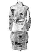 Newspaper Print Jacket Dress-Dresses-pinkychloe