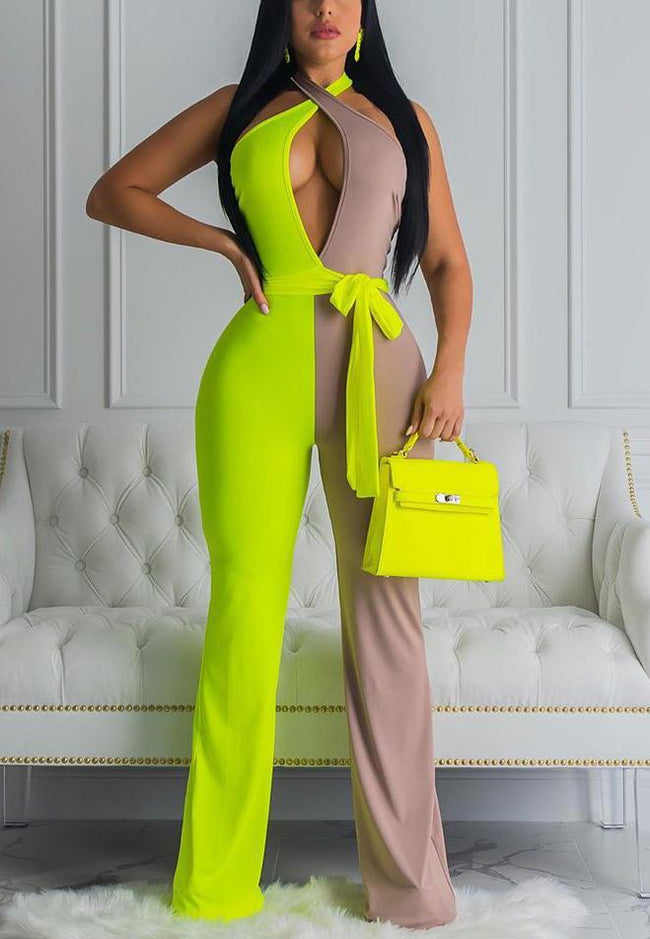 Hanging Neck Two Color Stitching Jumpsuit Nightclub-Jumpsuits-pinkychloe