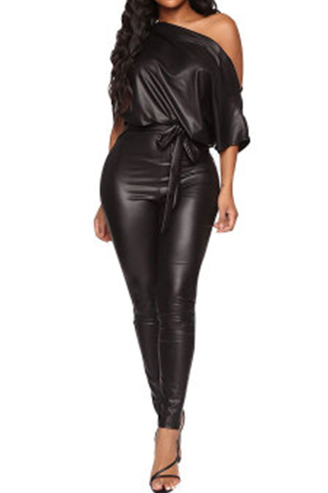 Sexy Tight Leather Lumpsuit-jumpsuit-pinkychloe