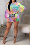 Long Sleeve Shorts Puff Sleeve Print Suit-Sets>Pant sets>Fashion-pinkychloe