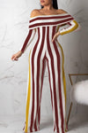 Stripe Long Sleeve Wide Legged Jumpsuit-Jumpsuits>Jumpsuits>Fashion-pinkychloe