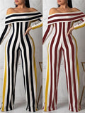 Fashion Striped Shoulder Long Sleeve Jumpsuit-Jumpsuits-pinkychloe