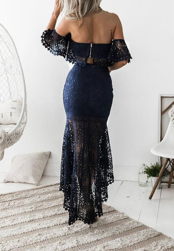 Lace Tube Top Backless Dress Two Piece-dress-pinkychloe