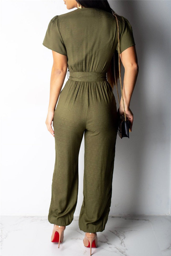 Solid Color Jumpsuit With Belt-Jumpsuits-pinkychloe