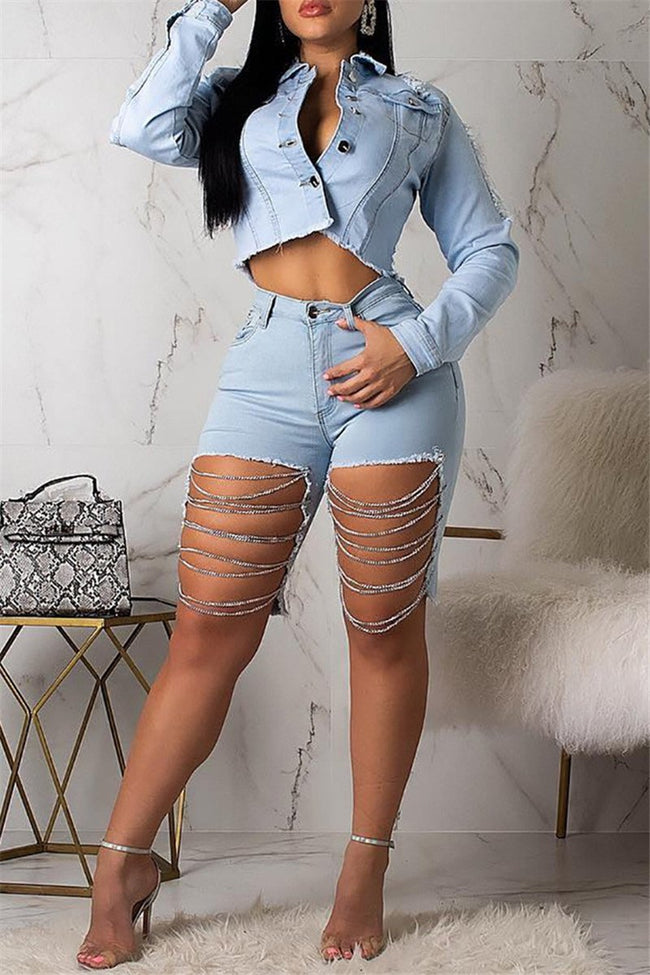 Distressed Chain Splicing Denim Shorts-Sets-pinkychloe