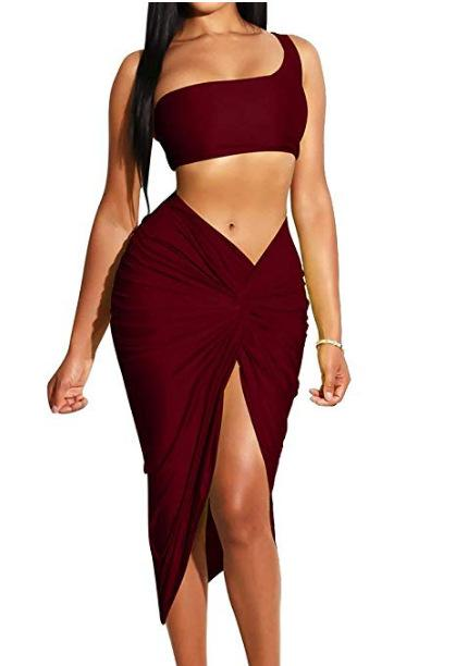 Color Two Piece Set Women One Shoulder Tops Split Dress Female Bandange-pinkychloe