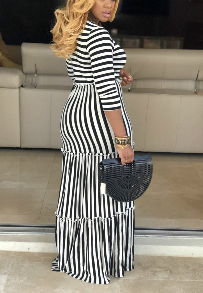 Classic Striped Featuring Mopping Dress-Dresses-pinkychloe