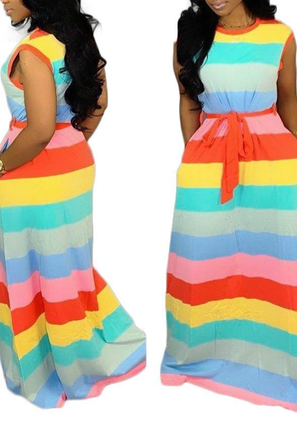 Sexy Loose Rainbow Striped Dress-Dresses-pinkychloe