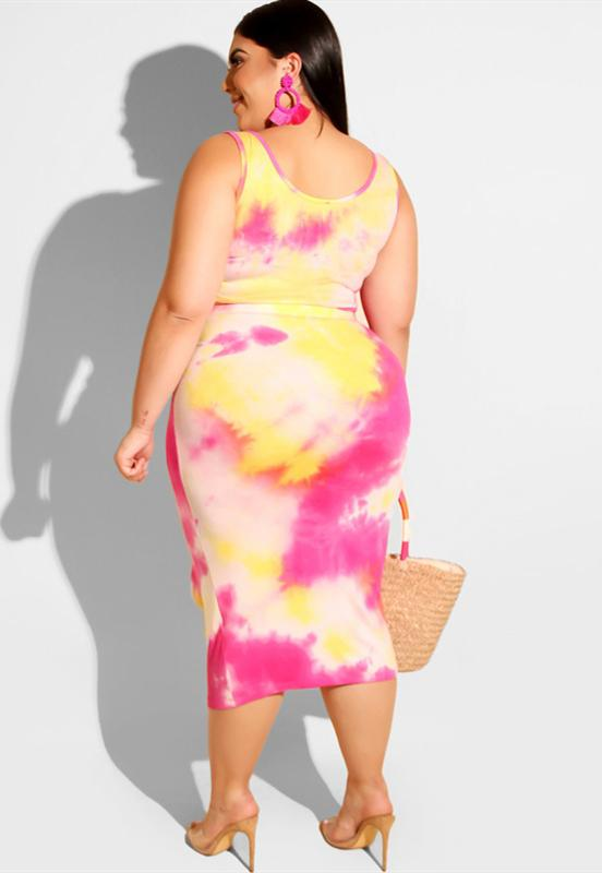Fashion Tie Dyed Tight Fitting Hip Casual Suit-dress-pinkychloe