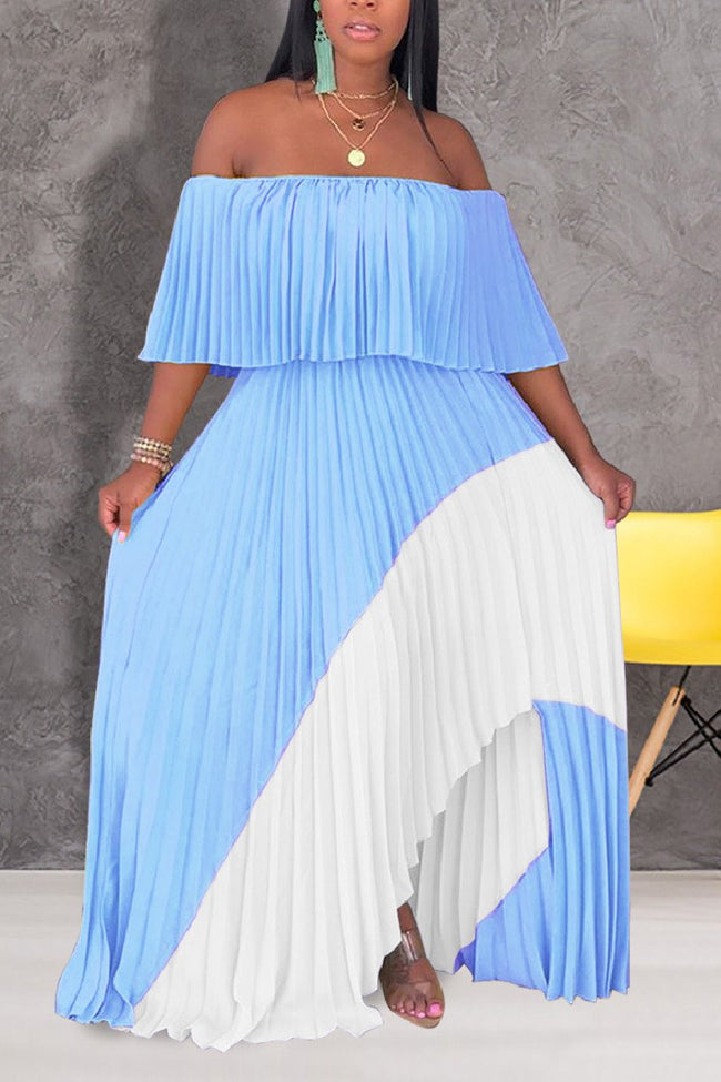 One shoulder pleated stitching casual long dress-dress-pinkychloe