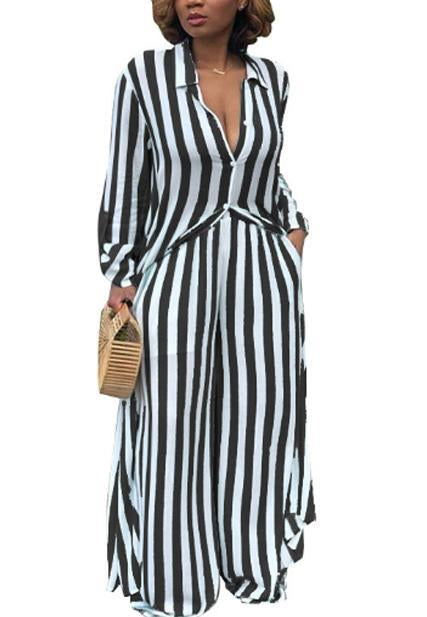 Fashion Striped Casual Outfit-Jumpsuits-pinkychloe
